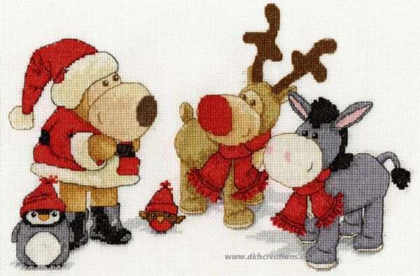 Boofle, Roofle, Rosy, Purly and Dinky At Christmas Cross Stitch Kit